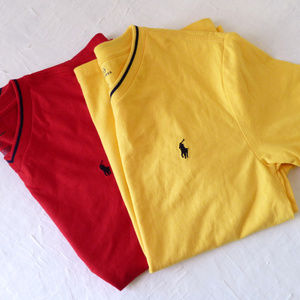 2 New V-Neck T-shirts Boys Medium Red Yellow Navy